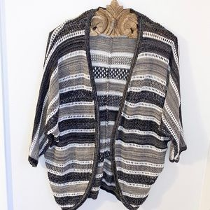 SKIES ARE BLUE Striped Crocheted Cocoon Cardigan